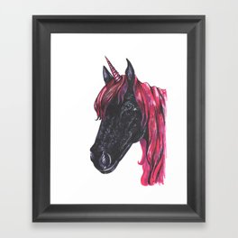 Dark unicorn Framed Art Print