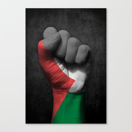 Palestinian Flag on a Raised Clenched Fist Canvas Print