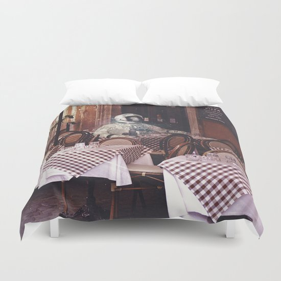 Dining Alone Duvet Cover