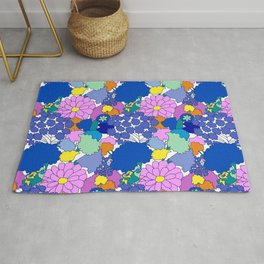 Far-Out 60's Floral in White Rug