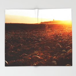 Yellow Sunset Pumpkin Patch Throw Blanket