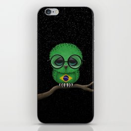 Baby Owl with Glasses and Brazilian Flag iPhone Skin