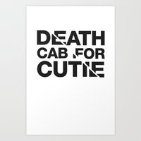 death cab for cutie Art Prints featuring Death Cab For Cutie Typography Tee by Eddie Burke