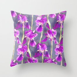 Simple Iris Pattern in Warm Magenta Throw Pillow