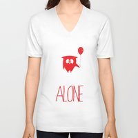 alone V-neck T-shirts featuring Alone by MuicRoom