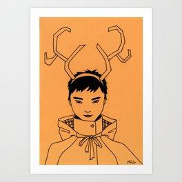 Reindeer Girl Art Print