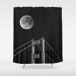 Full Moon Over Golden Gate Bridge San Francisco, California Shower Curtain