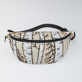 Winter Forest Scene Wood-burned Painting — Pyrography White Forest Pine Tree Painting Fanny Pack