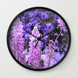 Lively Lupines Wall Clock