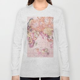 Vintage Map Pattern Long Sleeve T-shirt