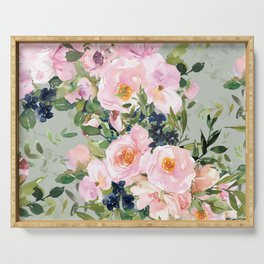 Festive, Floral Watercolor Roses, Green and Pink Serving Tray