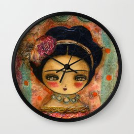 Frida In A Red And Teal Dress Wall Clock