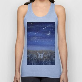 Hares and the Crescent Moon Unisex Tank Top
