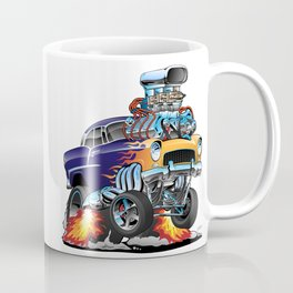 Classic Fifties Hot Rod Muscle Car Cartoon Coffee Mug