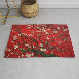Almond Blossoms Red Vincent Van Gogh Rug