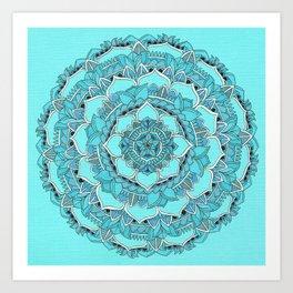 Mandala: Floral Blues Art Print