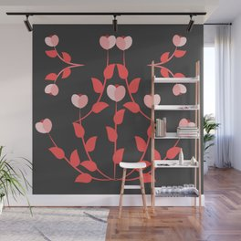 Pink floral fantasy dark Wall Mural