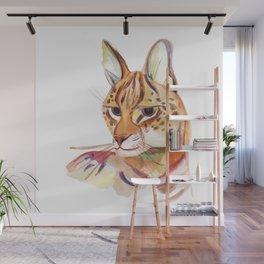 Serval wild cat watercolor Wall Mural