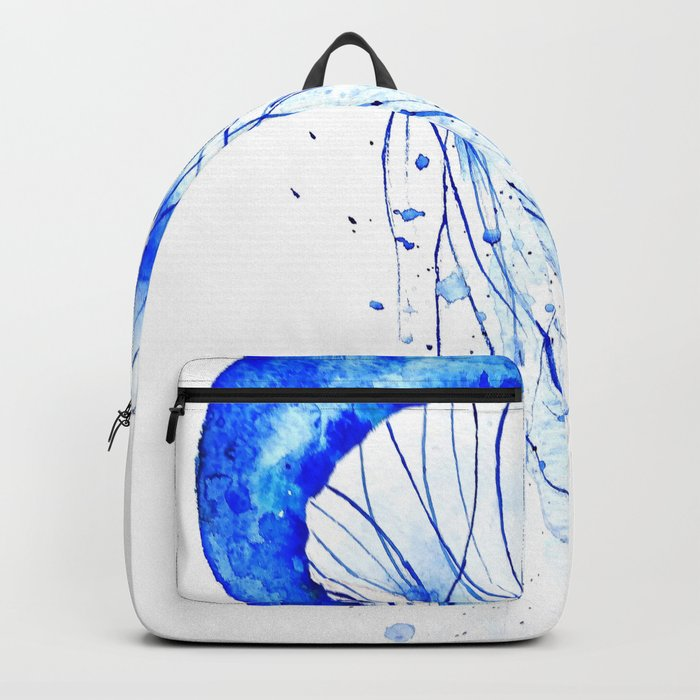 blue jellyfish watercolor Backpack