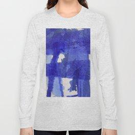 Blue abstract linen Long Sleeve T-shirt