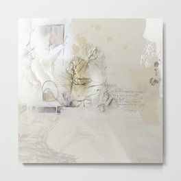 Abstract - Tranquility 1 - Soft Neutral Color Collage - Mixed Media Metal Print