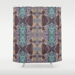 Tibetan Inspired Meditation Floral Print Shower Curtain