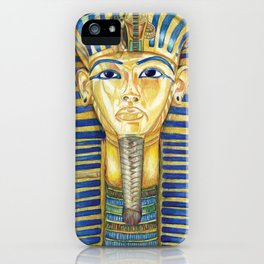 King Tut Colored Pencil Travel Art, Ancient Egypt  iPhone Case