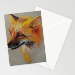 Fox Portrait Colored Pencil Drawing Stationery Cards