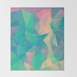 Fractured, Colorful Triangles Geometric Shapes Throw Blanket