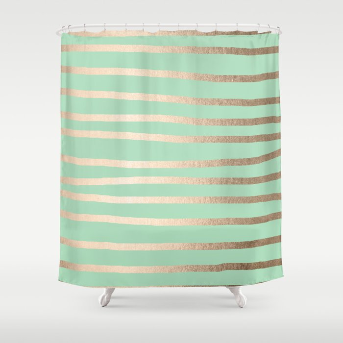 Stripes Metallic Gold Mint Green Shower Curtain By