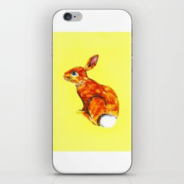 Rabbit on yellow iPhone Skin