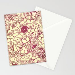 Yellow square, pink floral doodle, zentangle inspired art pattern Stationery Cards