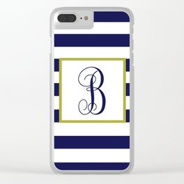 Blue and White Stripes with Monogram Clear iPhone Case