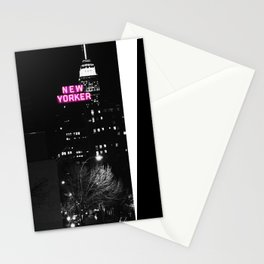 new york city Black & White + Pink Stationery Cards