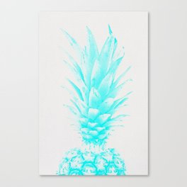 Blue Pineapple Xerox Watercolor  Canvas Print