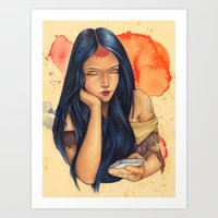 pocahontas Art Prints featuring Pocahontas by Bárbara  Kramer