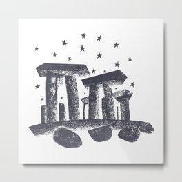 Stonehenge Charcoal Hand Drawn Illustration Metal Print