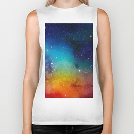 Colorful watercolor Galaxy Decoration Abstract Biker Tank
