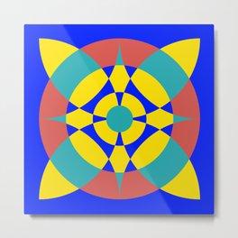 Flower Circles on Blue Metal Print