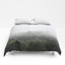 Foggy Forest Mist Landscape Photography | Woods | Nature | Travel | Rustic Comforters