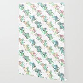 Palmetto Fronds Tropical Multicolor Pattern Wallpaper