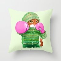 ashton irwin Throw Pillows featuring BOXING CAT 4 by Tummeow