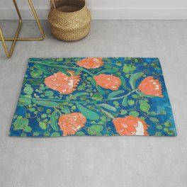 Coral Proteas on Blue Pattern Painting Rug