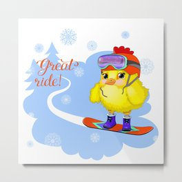 Great ride young cock on a snowboard. Metal Print