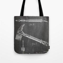 Firemans Axe Patent - Fire Fighter Art - Black Chalkboard Tote Bag