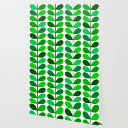 Mid Century Danish Leaves, Emerald and Lime Green Wallpaper
