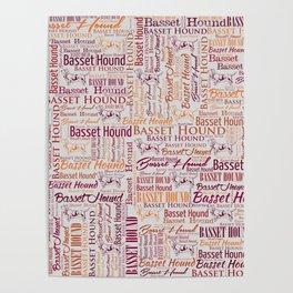 Basset Hound  Word Art pattern Poster