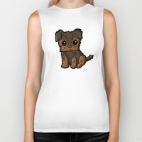 caleb troy Biker Tanks featuring Troy - Silky Terrier by Sylvester Pyke