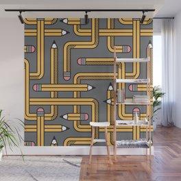 Pencil Maze Pattern pastel grey yellow Wall Mural
