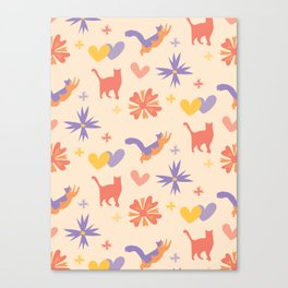 Colorful Cat Pattern Coral and Lavender with Flowers Canvas Print